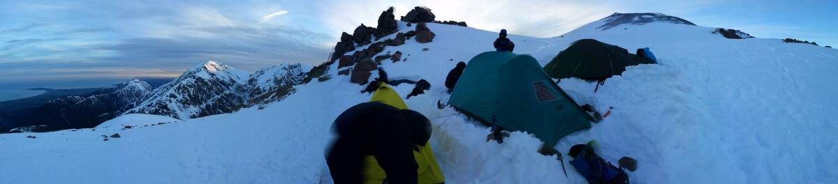 Panorama of the camp at 2000m