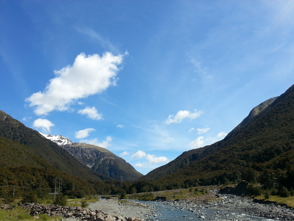 View up the Bealey River, Arthur's Pass Village