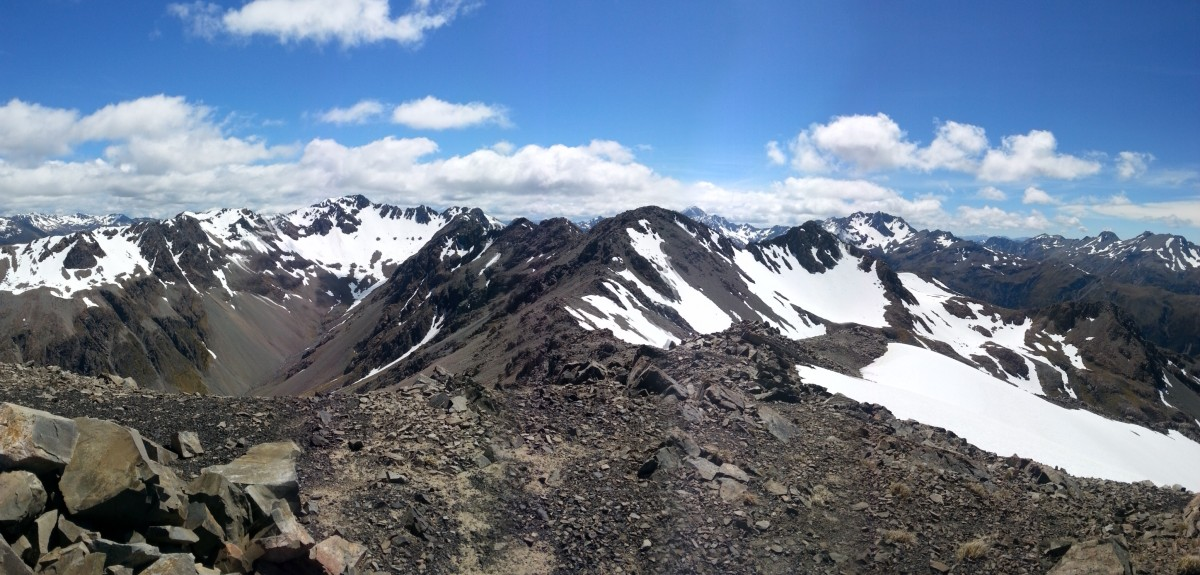 From pt.1844m - From left to right: Mt Cassidy, Mt Blimit, pt.1862 & the True summit of Mt Aicken on the right.