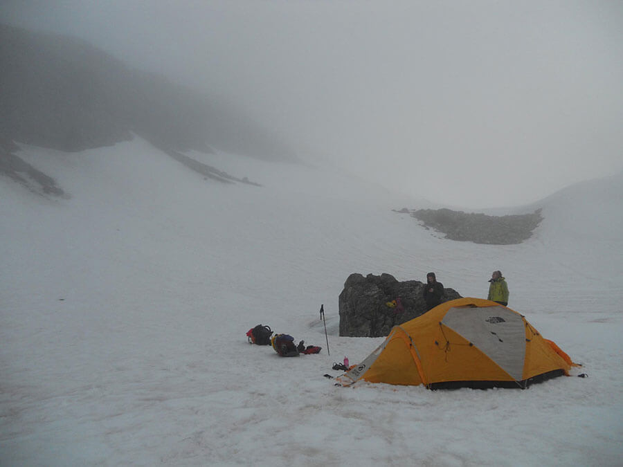 The camp at 1800m on the northern slopes of the Great Unknown. We named this place, Unknown Flats.