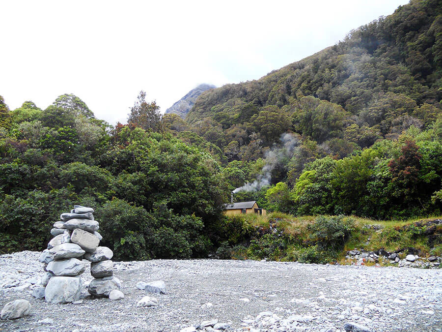 Scone Hut after the rain, looking up at Mt Ariki.