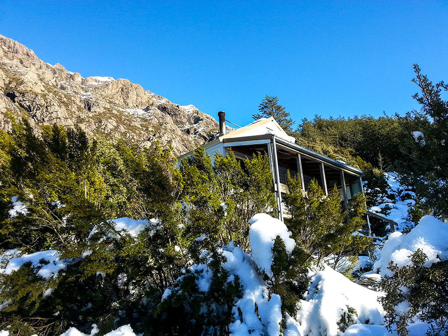 Pinnacles Hut in the snow.