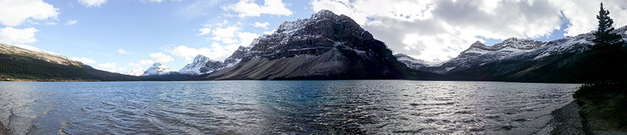 Our trip back to see the Bow Lake (panorama).