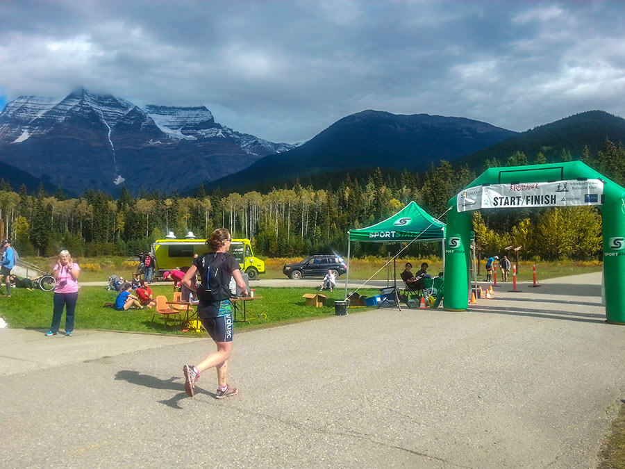 Caralyn finishing the Mt Robson Ultra.