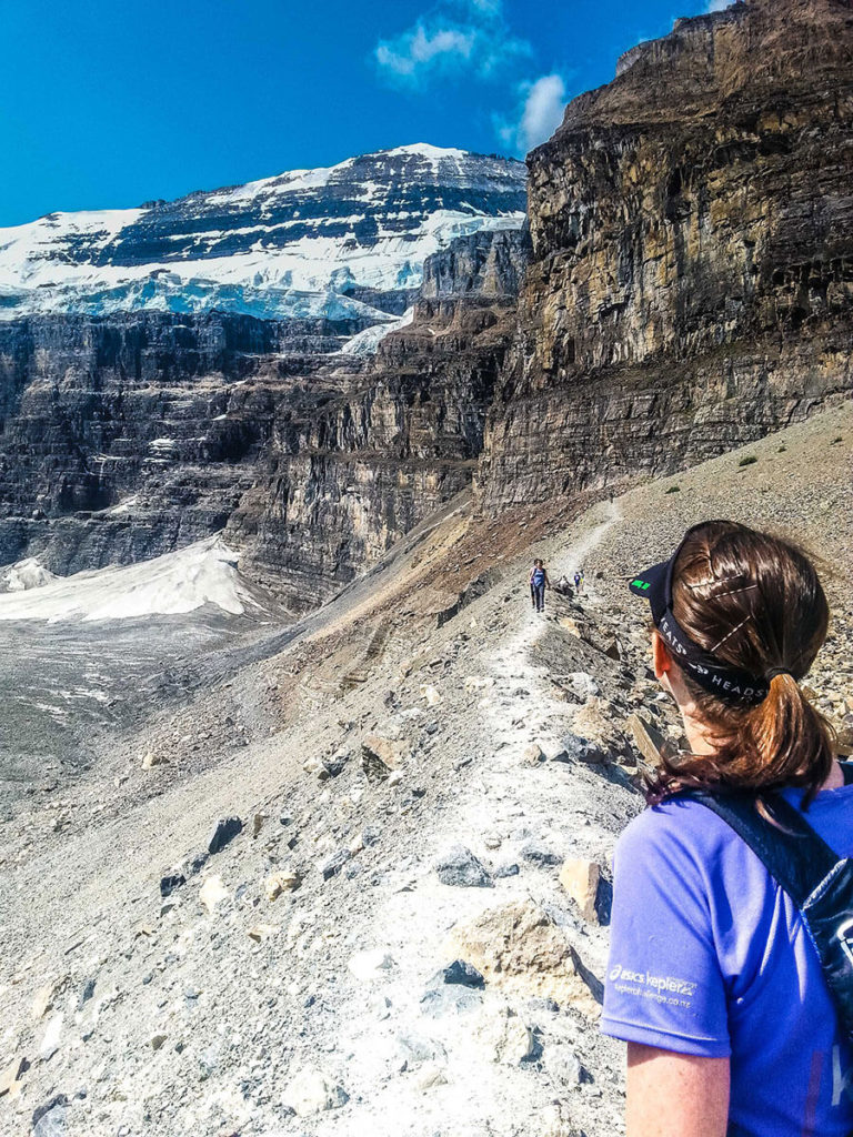 Caralyn at the top of the Plain Six Glaciers trail.
