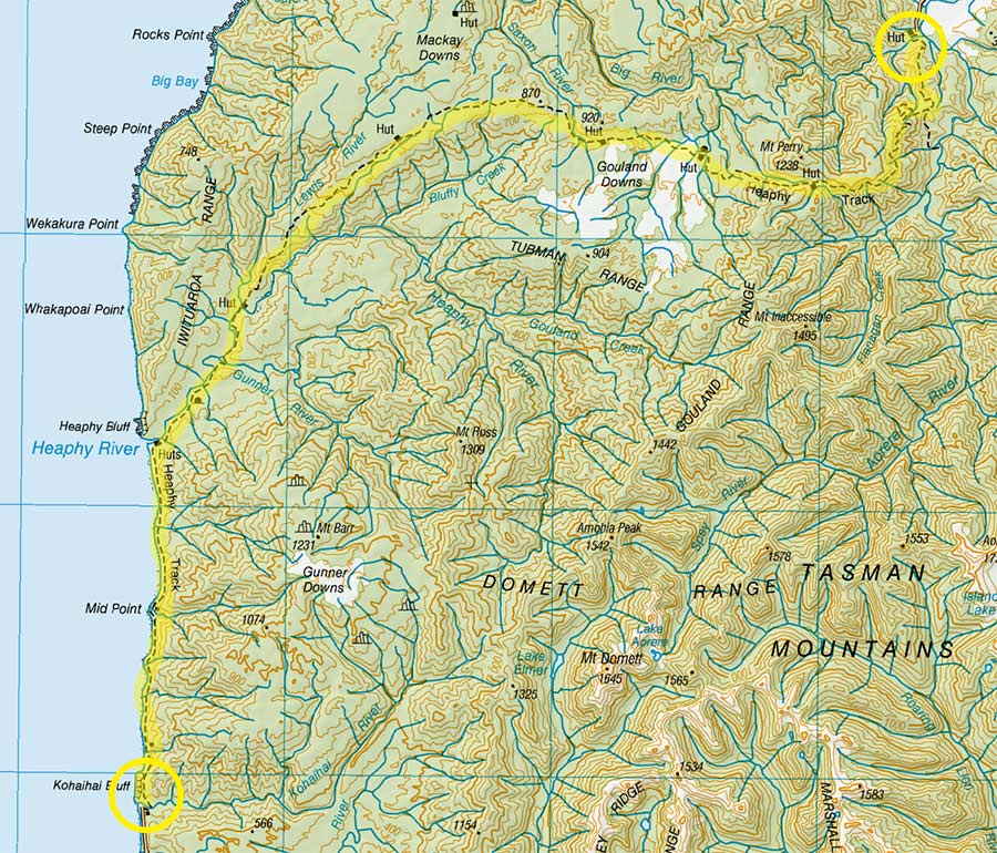 The Map of the Heaphy Track.