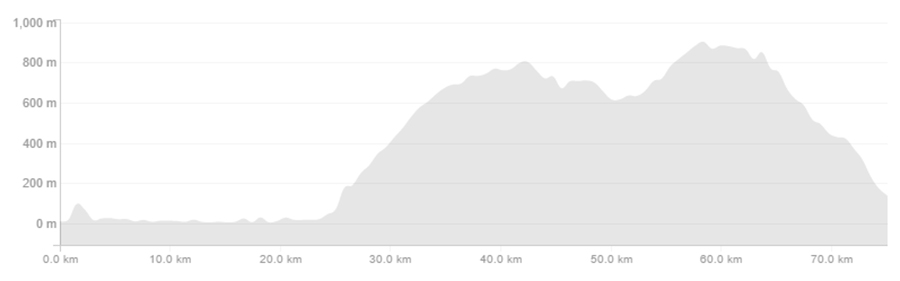 The Elevation profile of the Heaphy from West to East.