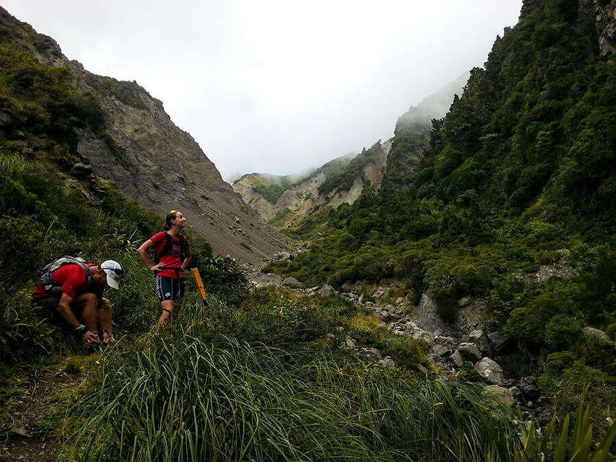 The trail starts to become bushlined, afterthe steep sided valleys from the summit of Gables End.