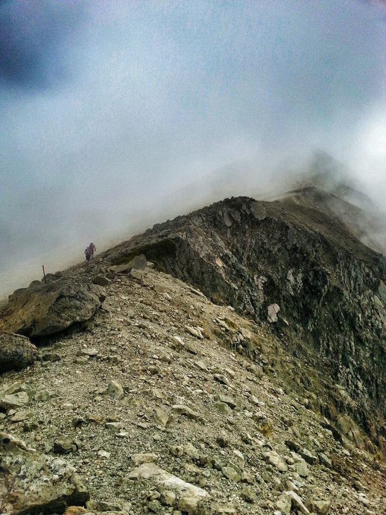 The team traversing the ridgeline to Gable.